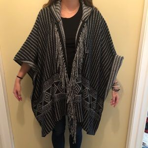 Black and grey poncho sweater